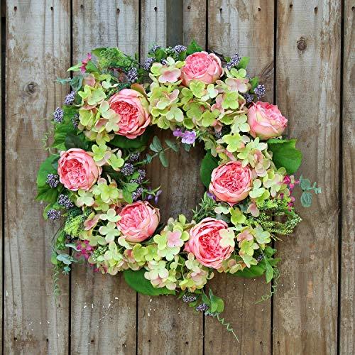 Darby Creek Trading Green Hydrangea & Pink Cabbage Rose Spring Summer Wreath