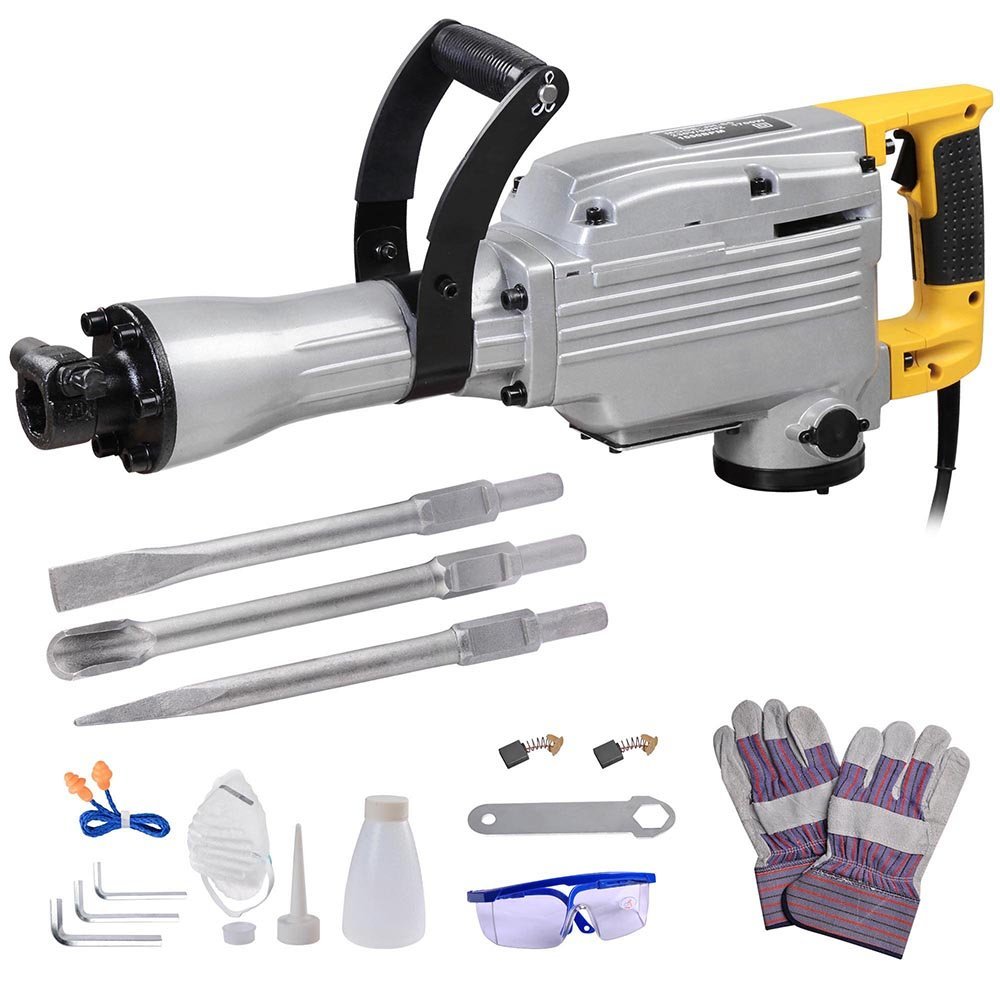 reasejoy 1700w electric demolition jack hammer chisel concrete road breaker double insulated with steel case amazoncouk diy u0026 tools