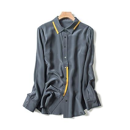 AIBAB Camisa De Seda De Manga Larga En Contraste De Solapas. Camisa De Seda De Las Mujeres Camisa De Gasa Camisa Polo Gris: Amazon.es: Deportes y aire libre