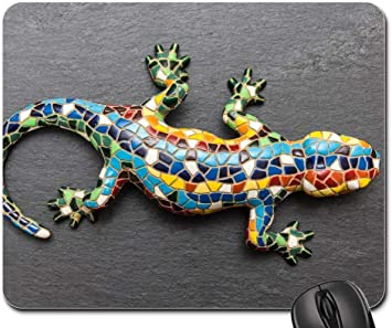 25X30cm Alfombrilla Mouse Pad - Gecko Mosaic Lizard España Barcelona Pizarra: Amazon.es: Electrónica