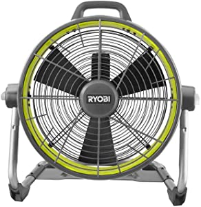 "RYOBI 18-Volt ONE+ Portable Hybrid 18"" 3-Speed Air Cannon Drum Fan, Runs on Battery (NOT Included) or Electric Power (AC Cord Included)"