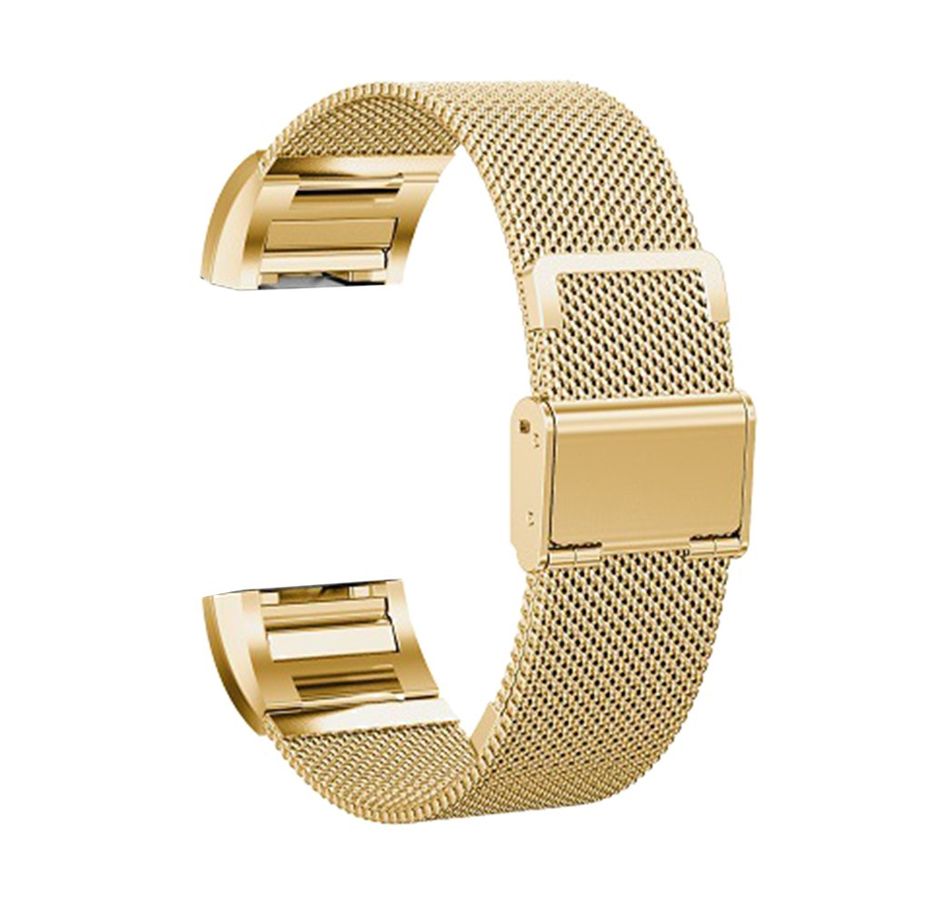High-end Adjustable Stainless Steel Bracelet Wrist Watch Band for Fitbit Charge 2 Mesh Metal Gold Tone