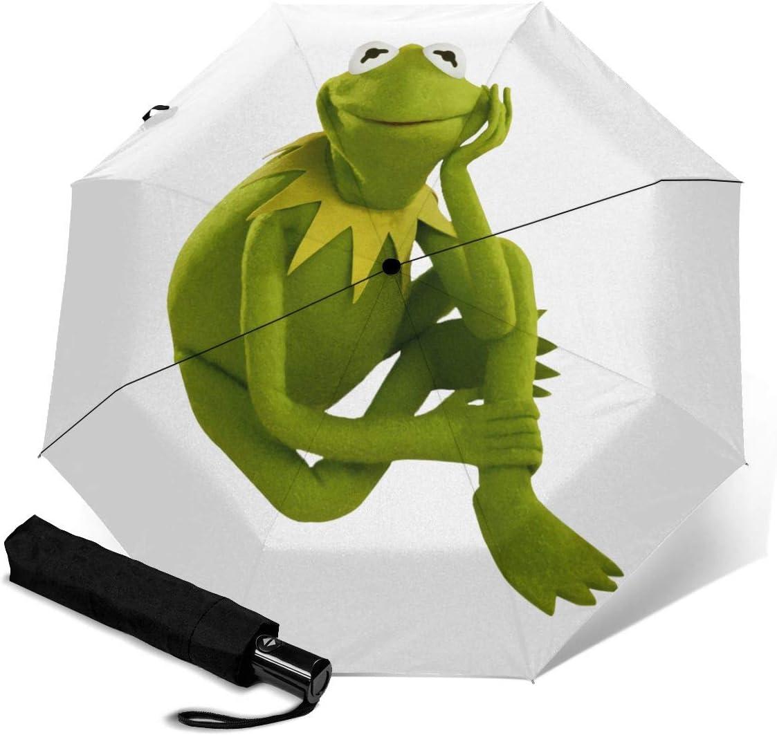 Kermit The Frog Sun Protection Umbrella,Waterproof Travel Automatic Tri-fold Umbrellas