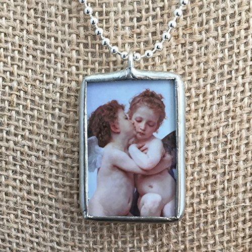 Psyche Costumes (The First Kiss, (L'Amour et Psyché, enfants) Cupid and Psyche as Children by William Bouguereau Vintage Fine Art Soldered Glass Pendant Charm Necklace)