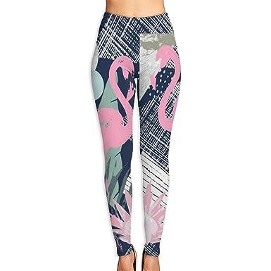 ANTOUZHE Pantalones de Yoga Pink Flamingo and Leaves Printed ...