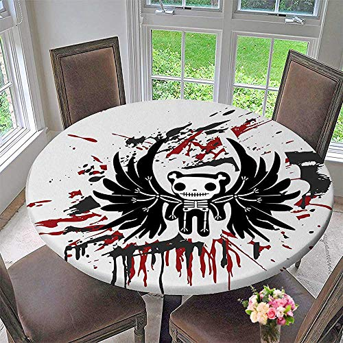 Mikihome Round Premium Tablecloth Teddy Bones with Skull Face and Wings Dead Comic Terror Design Stain Resistant 35.5