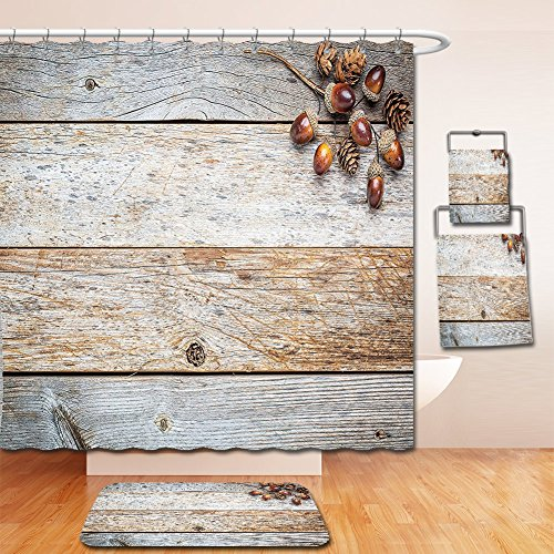 Nalahome Bath Suit: Showercurtain Bathrug Bathtowel Handtowel Rustic Acorns and Cones on Weathered and Grained Wooden Back Timber Fall Theme Image (Acorn Back High Chair)