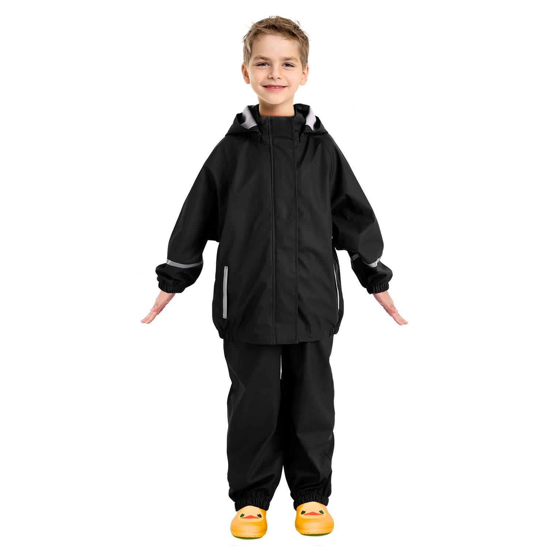 Andake Kids Rain Suit, Waterproof Rain Jacket and Bib Overall (Black, L (8-9Y)) by Andake