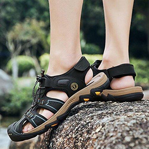 De Libre Baotou Zapatos Al De Hombres Sandalias Aire Verano Black para Exteriores De Playa Cuero Sandalias Antideslizantes wnFqAvZB4