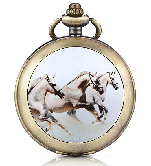 Infinite U reloj de bolsillo mecánico con Photo reloj blanco - Número Romanos aleación el dibujo de tres caballos dos cadenas para hombre Mujer: Amazon.es: ...