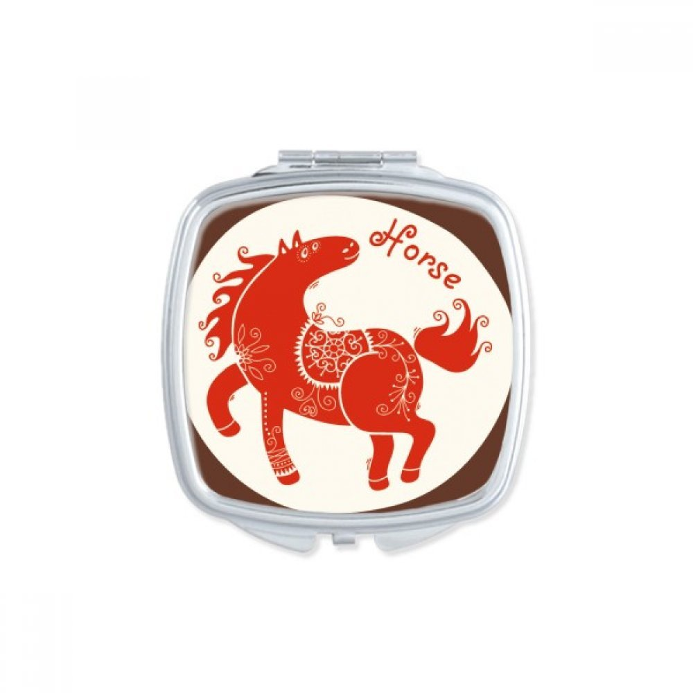 DIYthinker Year Of Horse Animal China Zodiac Red Square Compact Makeup Mirror Portable Cute Hand Pocket Mirrors Gift
