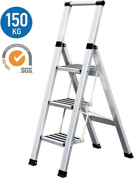 Tatkraft Adamant Escalera Plegable Hecha de Aluminio, 3 Escalones Antideslizantes, Soporta hasta 150 kg, Certificación SGS de Calidad y Seguridad: Amazon.es: Hogar