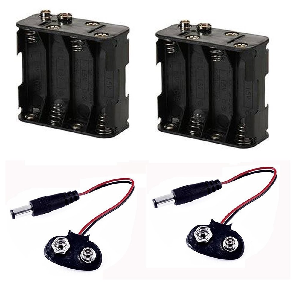 8 AA Battery Holder with Standard Snap Connector and Battery Clip of 2.1mm X 5.5mm Male DC Plug for Arduino