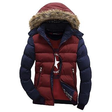Highdas Herren Winter Warme Daunen Baumwolle Parkas dicken Mantel  abnehmbaren Kappe Outwear Fell Kapuze Parka 2