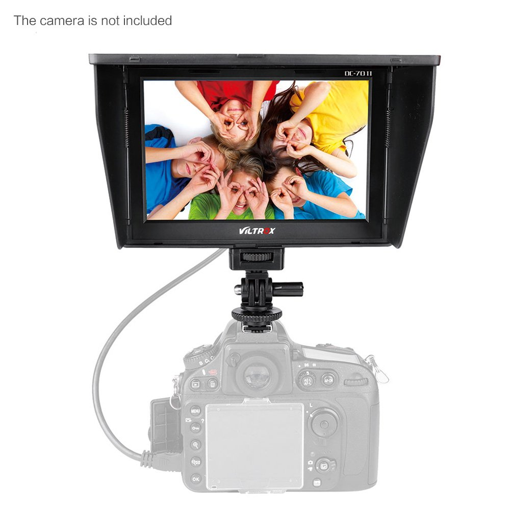 Viltrox DC-70 Clip-on Color 7'' TFT LCD HD Monitor HDMI AV Input 1280 * 800 for Sony,Canon,Nikon DSLR Camera Camcorder by VILTROX