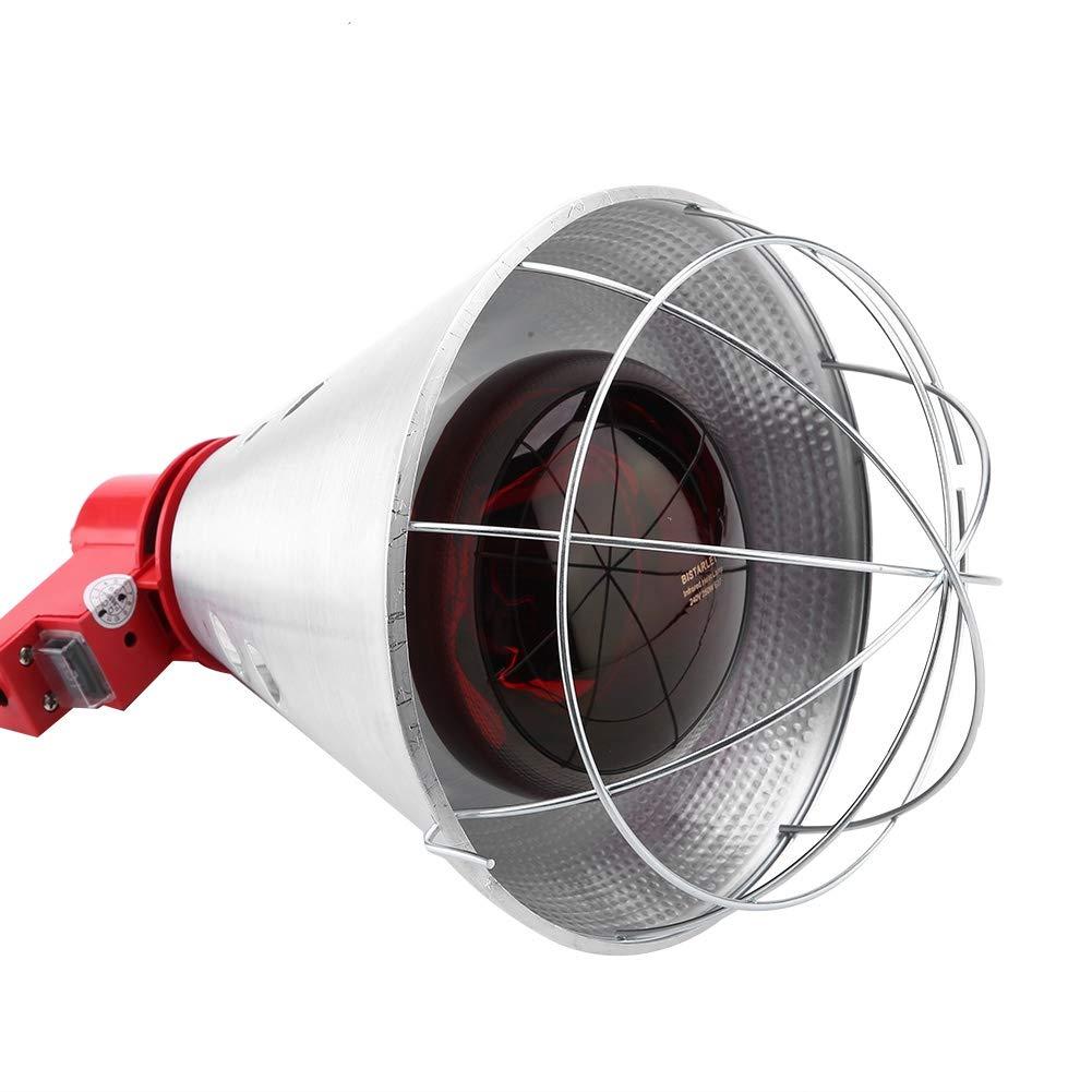 enchufe de la UE 220 V L/ámpara de incubadora de calor de aves de corral infrarrojas de 250 vatios L/ámpara de calor roja infrarroja con ajuste de temperatura para aves