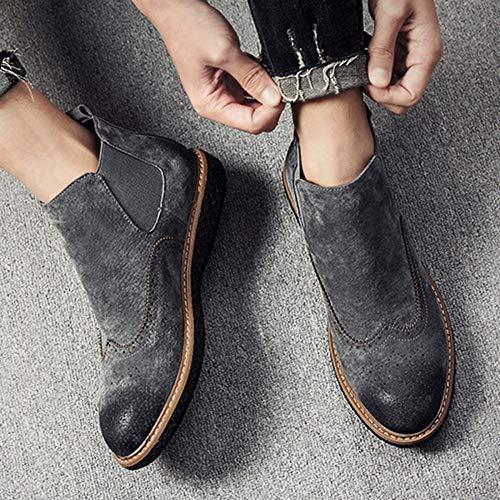 Formale High Nera Desert Chelsea Stivali Brogue Uomo Martin Boots Bullock Autunno Classico Grey Moda Pelle fIwOxT1ORq