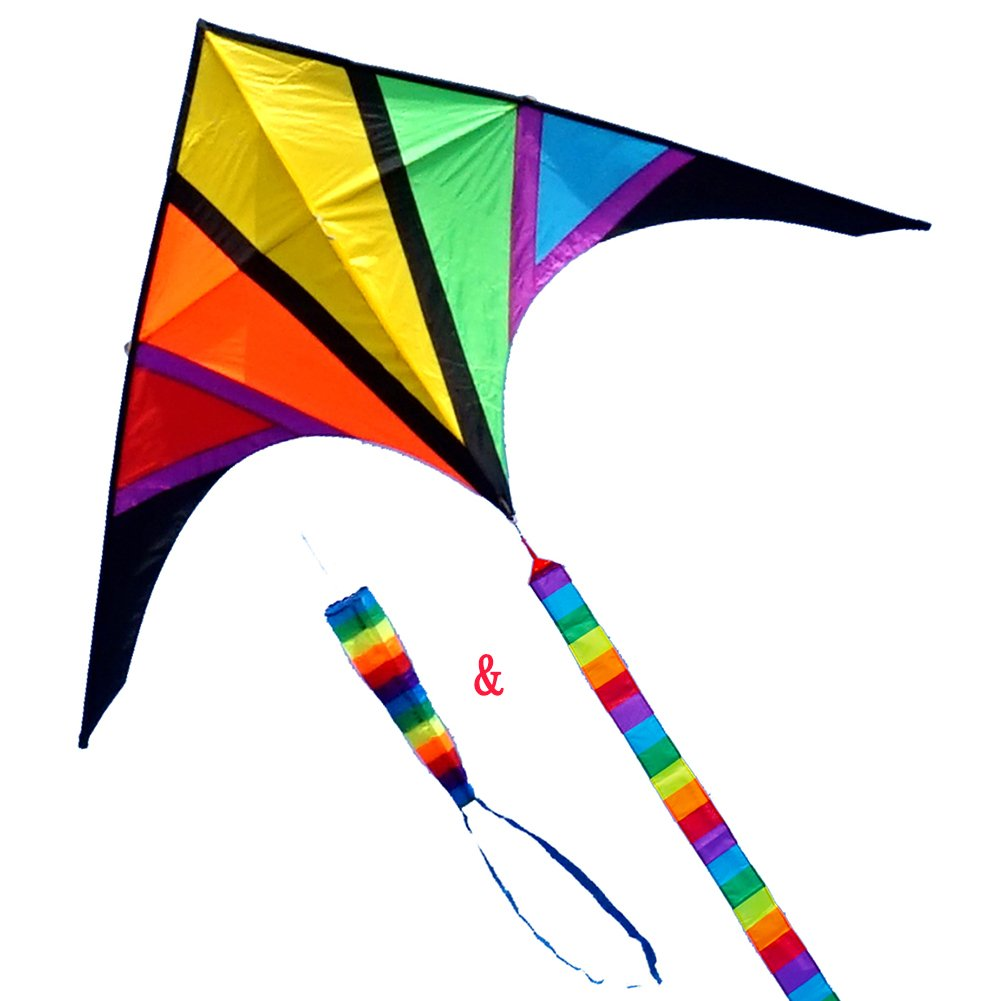 Besra 110inch Rainbow Delta Kite 9.2ft Single Line Kite with windsock & 10m Long Tail for Kids and Adults Outdoor Fun Sports for Beach & Park