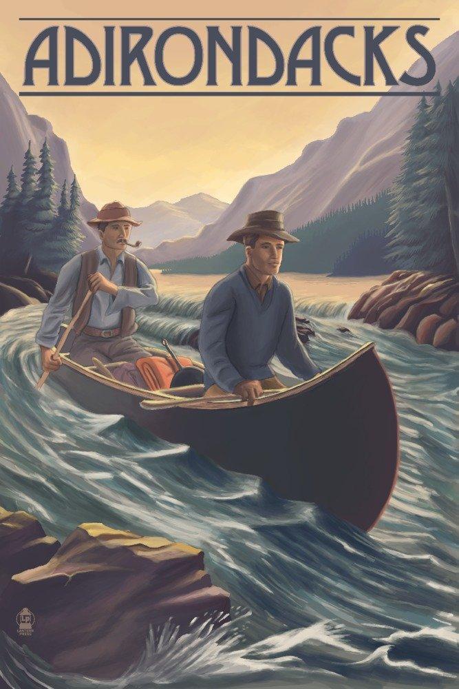 Adirondacks、ニューヨーク – Canoe On川 36 x 54 Giclee Print LANT-81178-36x54 B071FPRM5D  36 x 54 Giclee Print