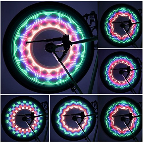 OUTAD LED Bike Wheel Lights, Waterproof Ultra Bright 32 LED Bicycle Wheel Spoke Decorations Light - 32 Different Patterns Change - Colorful Bicycle Tire Accessories - Easy To - Spoke Wheel Patterns