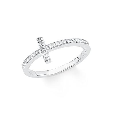 3897289c0343 s.Oliver Damen-Ring So Pure Kreuz 925 Sterling Silber rhodiniert Zirkonia  weiß  Amazon.de  Schmuck