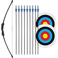 """iMay 45"""" Recurve Bow and Arrows Set Outdoor Archery Beginner Gift Longbow Kit with 9 Arrows 2 Target Face 18 Lb for Teen"""
