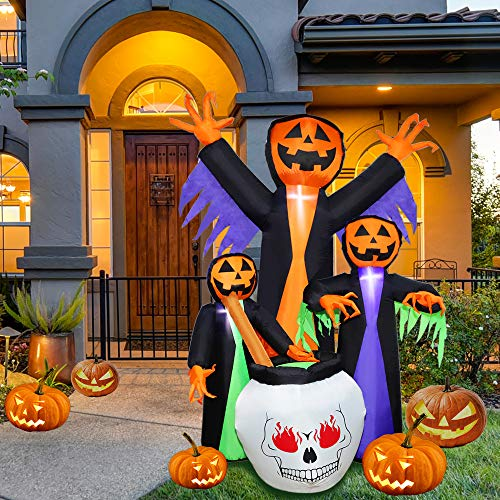 Brobery 6 Foot Halloween Inflatable Decoration Blow-up Witch Ghost with Internal Lights for Party Garden Yard Indoor and Outdoor Decor