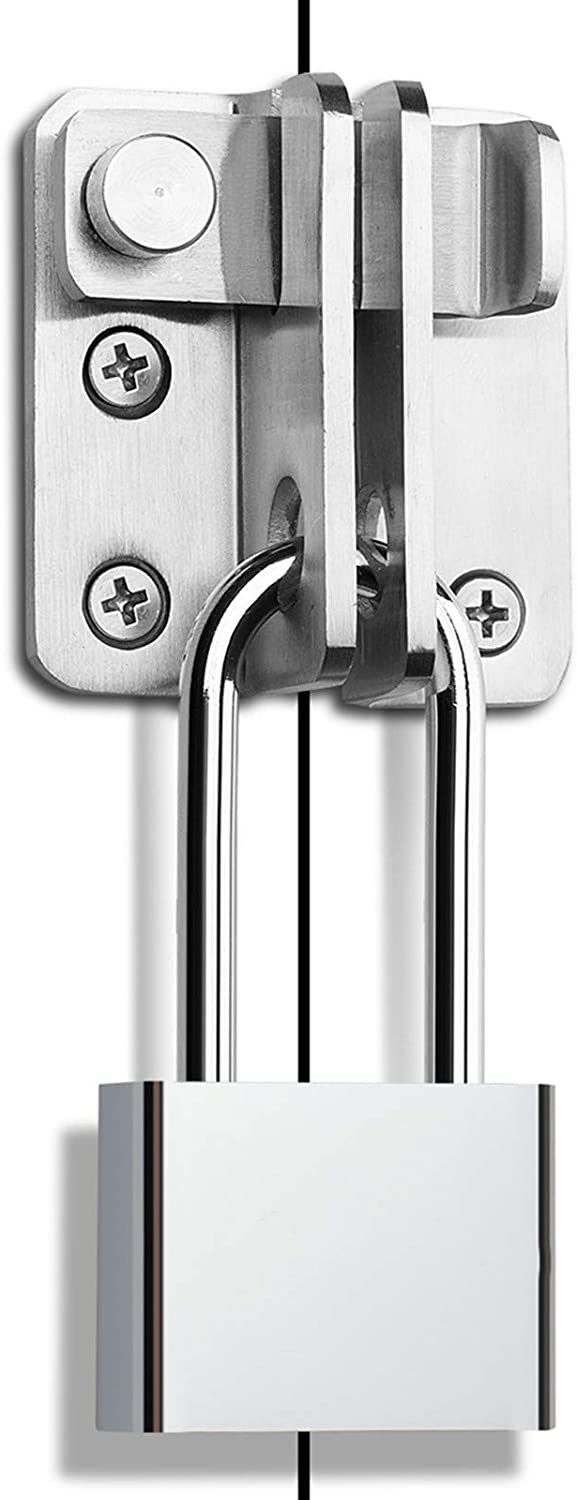 Gate Latch with Padlock, Shed Lock Gate Latch for Wooden Gates Flip 3 mm Thickened Heavy Duty Hasp Safety Door Lock Slide Bolt Garden Gate Latches for Wooden Fence Double Door, Brushed Finish