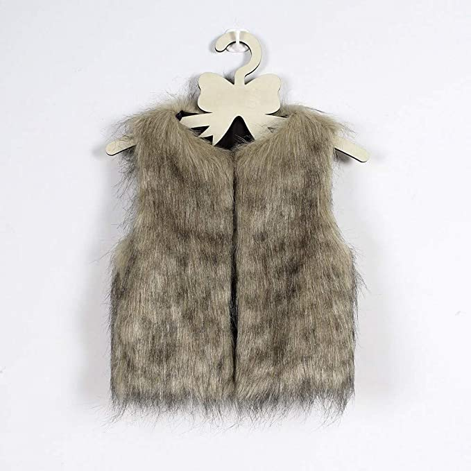 OutTop Toddler Girls Tie Dyed Faux Fur Vest Waistcoat Warm Sleeveless Cardigans Coat Fuzzy Fluffy Lightweight Jacket