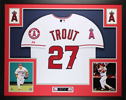 best website e48f7 a1cee Mike Trout Autographed White Angels Jersey - Beautifully ...