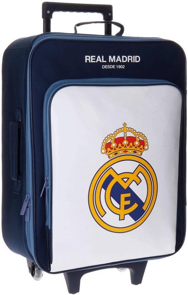 Real Madrid Magnum Equipaje Infantil, 52 cm, 26 litros, Blanco