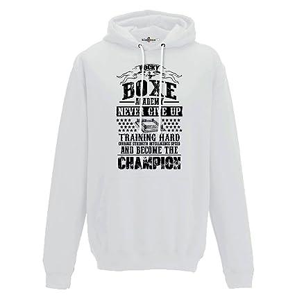KiarenzaFD Sudadera Capucha Hombre Rocky Academy Boxeo Champion 2 Streetwear, Arctic White, Small