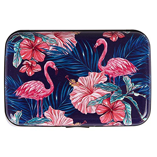 HDE RFID Credit Card Holder Front Pocket Hard Shell RFID Wallets for Women (Pink Flamingos)