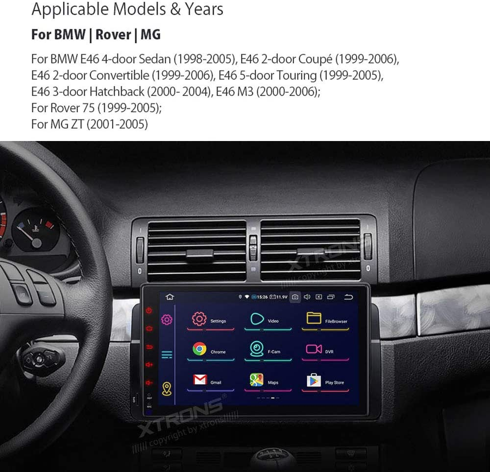 XTRONS 9 Inch Android 10 Car Stereo Radio Player Octa Core 4G RAM 64G ROM GPS Navigation Multi-Touch Screen Head Unit Supports Screen Mirroring WiFi OBD DVR TPMS for BMW E46 3er M3 Rover75 MG ZT