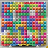 TPXYJOF Colorful Retro Gaming Brick Blocks 6072 Inch Bathroom Shower Curtain Set Waterproof Mold And Mildew Resistant Bath Curtain Fabric Polyester For Bathroom Decoration