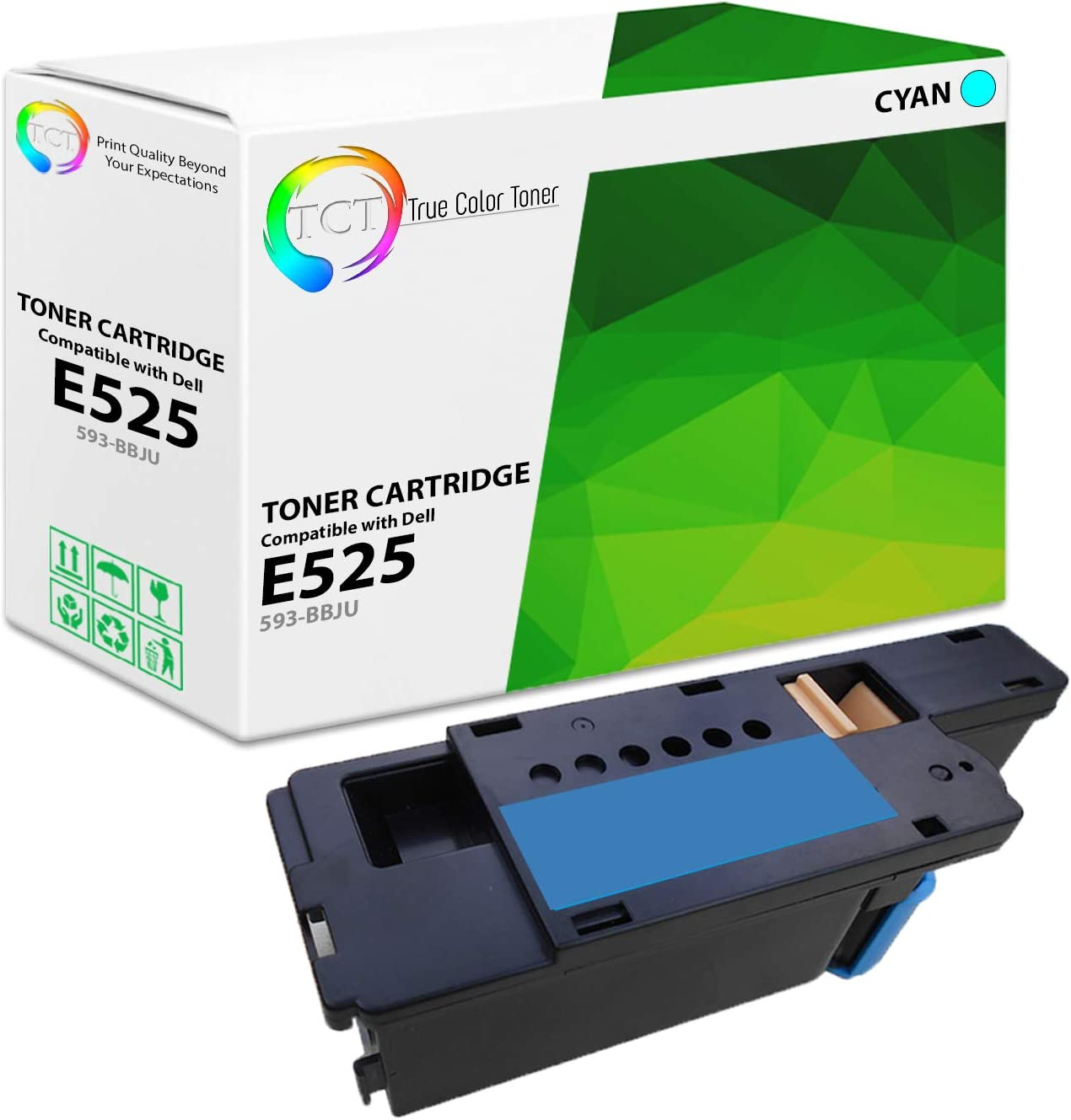 TCT Premium Compatible High Yield Toner Cartridge Replacement for Dell 593-BBJU Cyan Works with Dell E525W MFP Printers (1,400 Pages)
