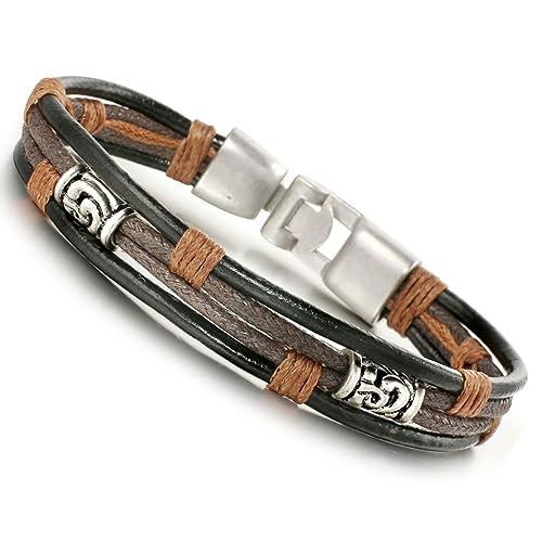 408279361ce2 Jstyle pulsera de piel para hombre colour negro y plateado brazalete hecho  a mano cuerda para jóvenes longitud  22 cm  Amazon.es  Joyería