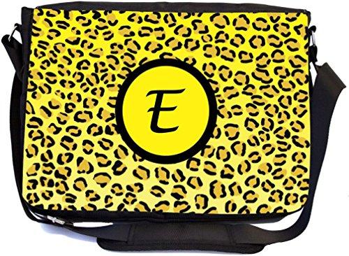 "Rikki Knight Letter ""E"" Initial Yellow Leopard Print Mono..."