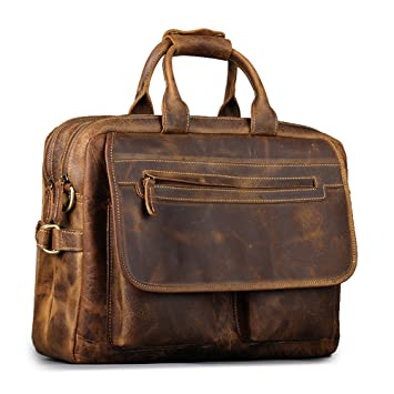 Kattee Men's Leather Briefcase Messenger Bag, 16 Inch Laptop Bag ...