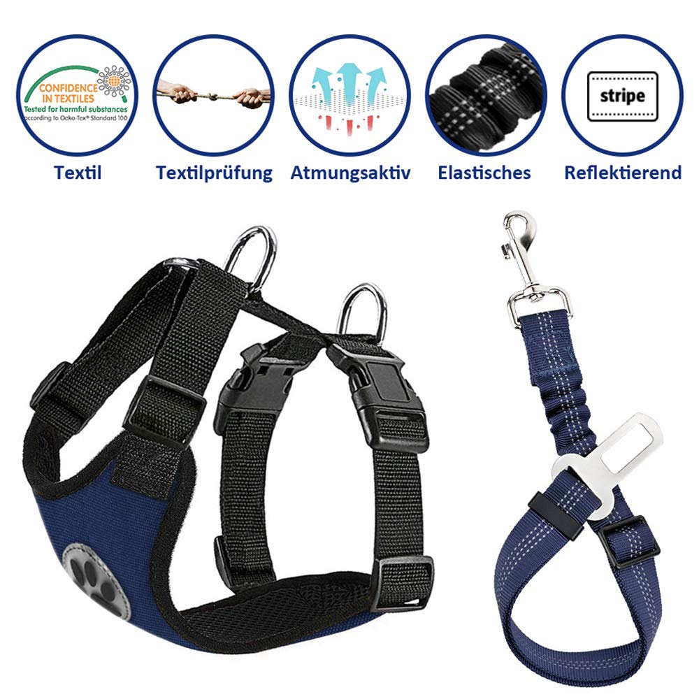 SlowTon Dog Car Harness Seatbelt Set, Pet Vest Harness with Safety Seat Belt for Trip and Daily Use Adjustable Elastic Strap and Multifunction Breathable Fabric Vest in Vehicle for Dogs LT-PET8-CBL-L