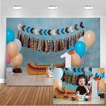 Fine Amazon Com Mocsicka 1St Birthday Cake Smash Backdrop Happy First Funny Birthday Cards Online Hetedamsfinfo