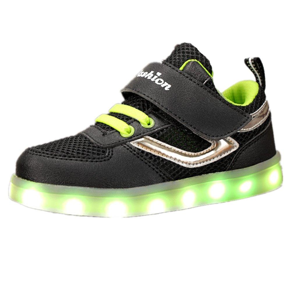 xiaoyang Kid Boy Girl USB Charging LED Light Sport Shoes Luminous Flashing Sneakers (Black - 27/10 M US Toddler)