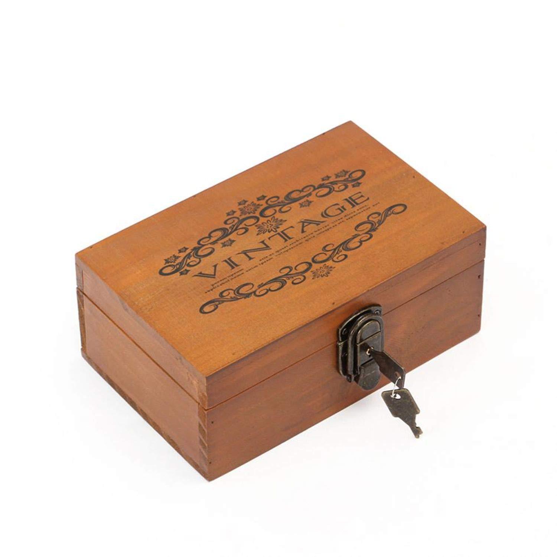 Desktop Wooden Content Wood Certificate Restoring Ancient Receive Jewelry Storage With Lock,b