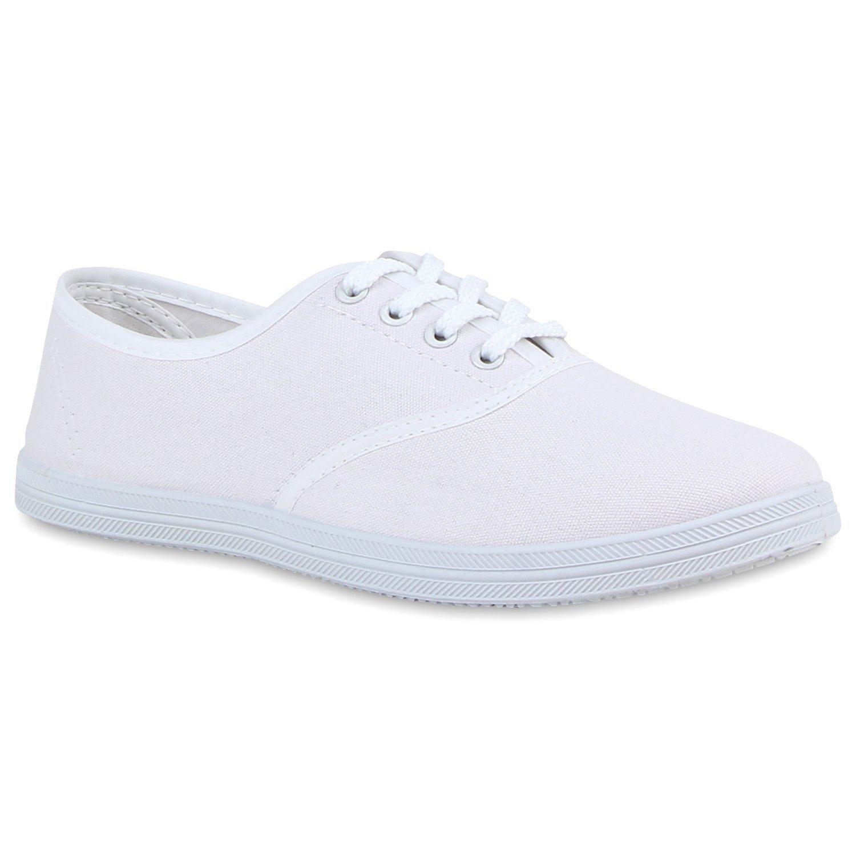 Stiefelparadies Unisex Damen Herren Sneaker Low Übergrößen Flandell Weißs White