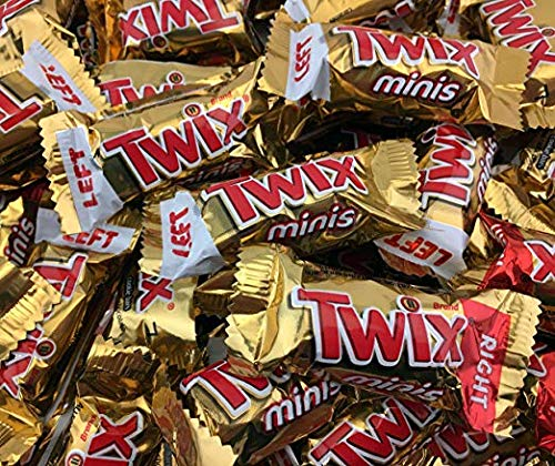 Twix Caramel Minis Fun Size Chocolate Cookie Bar Candy, Treat Size Bulk Pack (Pack of 5 Pounds)