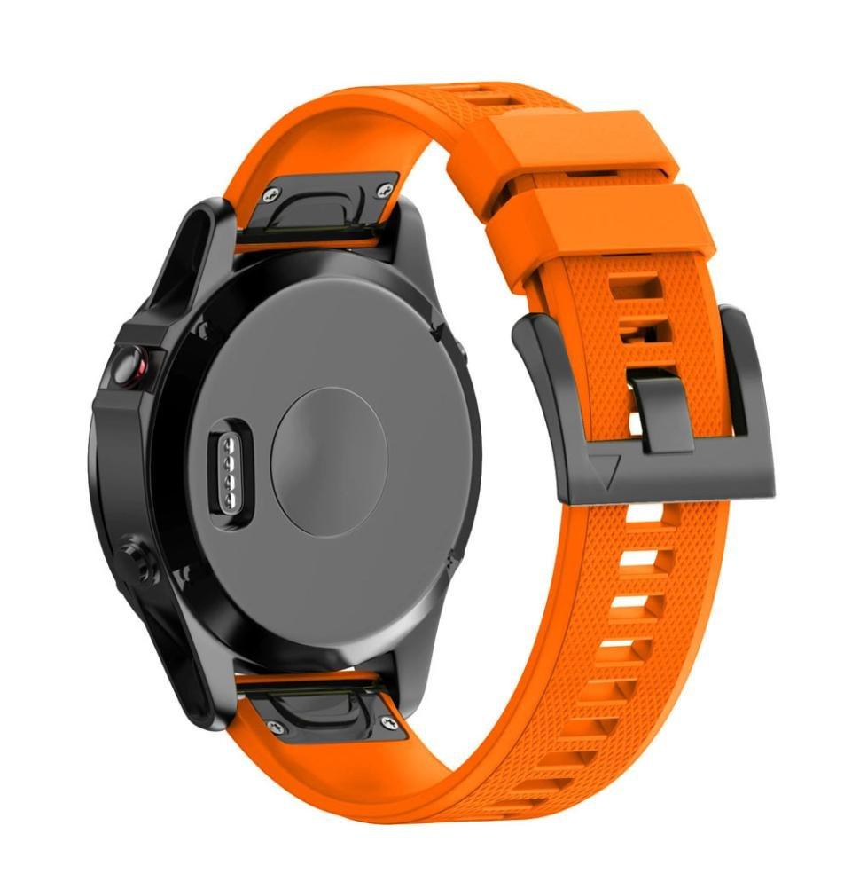 zty66ソフトクイックリリースシリカゲル時計バンドの交換用ピンバックル付きfor Garmin Fenix 5 x GPS Watch オレンジ オレンジ B073329J4R
