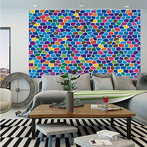Modern Decor Wall Mural,Vivid Rainbow Colored Mosaic Design Shapes in Blue Yellow Green Orange Red Art,Self-Adhesive Large Wallpaper for Home Decor 83x120 inches,Multicolor