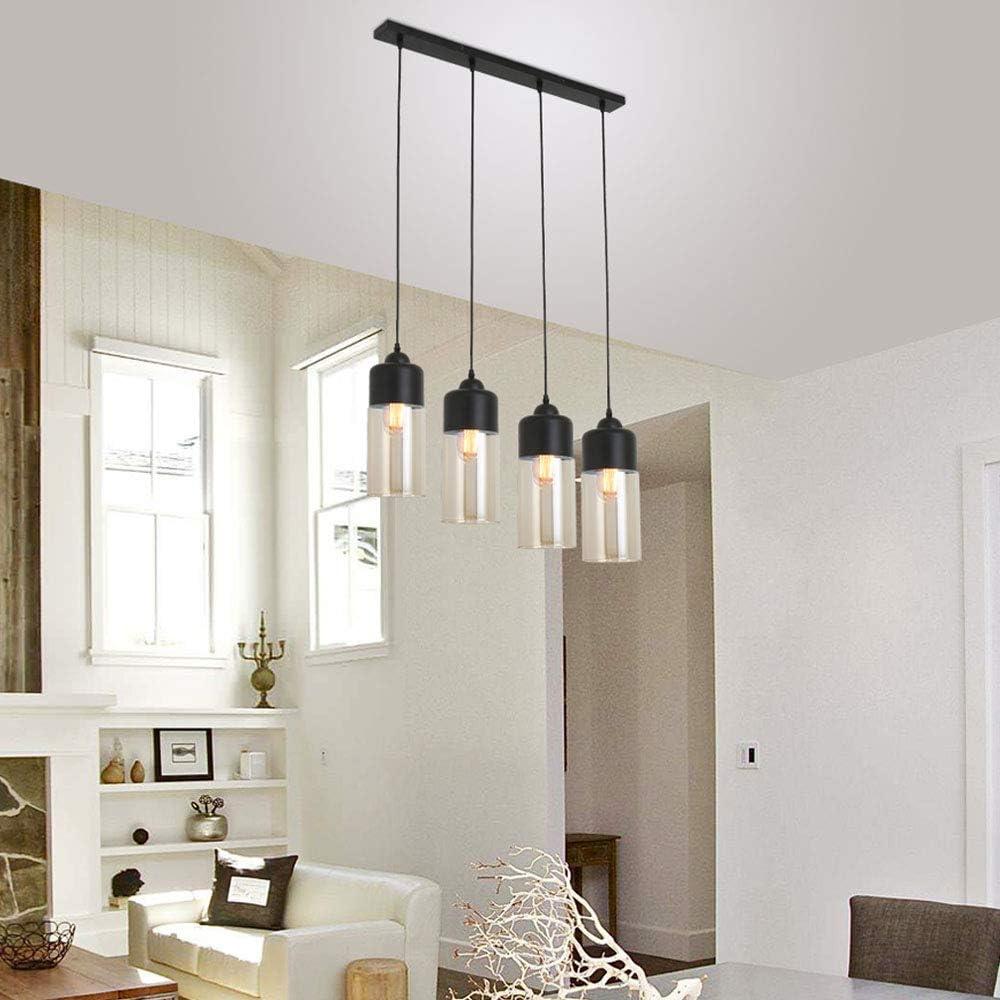 Horisn Vintage Pendant Light, 4 Lights Kitchen Island Light, Adjustable  Industrial Rustic Chandelier, Farmhouse Hanging Light Fixture for Dining  Room, ...