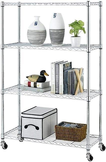 Bakaji - Estantería Multiusos de Acero Inoxidable Cromado con 4 estantes Ajustables con Ruedas, tamaño 90 x 35 x 143 cm