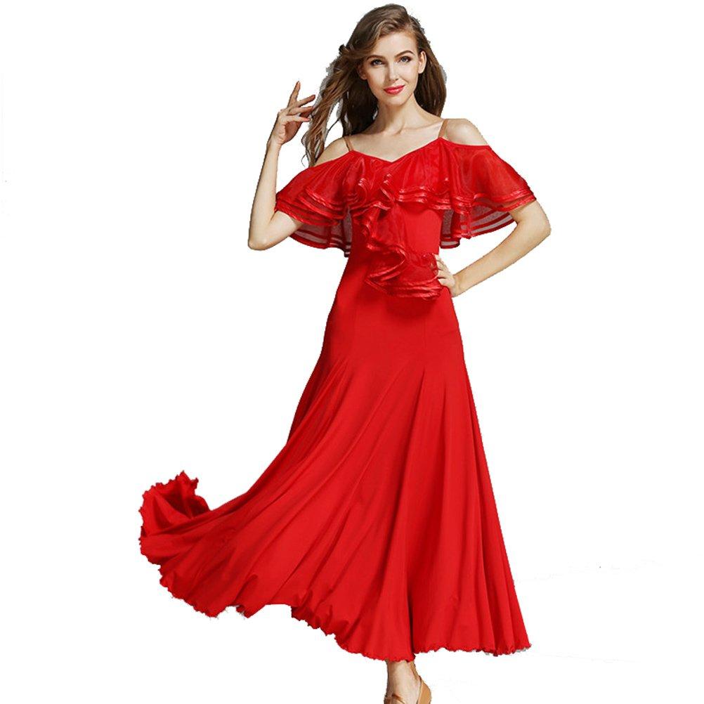 Women French Classic Luxury Big Lotus Leaf Swing Ice Silk Latin Dance  Costume Flamenco Ballroom Waltz ...
